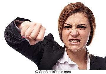 強打する, 女性実業家, 怒る
