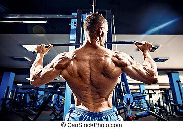強有力, 車身制造者, 做, 重, 重量, 練習, 為, 背, 上, 機器