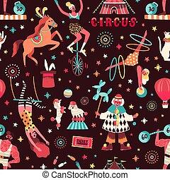 強権保持者, イラスト, ピエロ, 背景, サーカス, 曲芸師, 別, 平ら, seamless, お祝い, animals., パターン, 曲芸師, 漫画, performers., ベクトル, cirque, 訓練された, 芸術家, repeatable