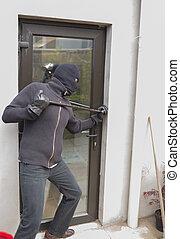 強盗, 壊れる, ドア