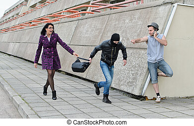 強盗, bag., 泥棒, 試み, 通り。, 盗みをはたらきなさい, 防止