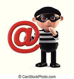 強盗, someones, 住所, 電子メール, steals, 3d