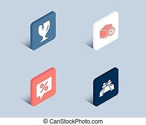 弾力性, パッケージ, 印。, 壊れやすい, タイマー, 出産, 割引, メッセージ, icons., プレゼント