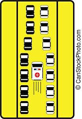 弾力性, 自動車, 印, 中央, 交通, 方法, 助言しなさい, ambulance.