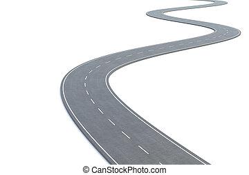 彎曲的路, 被隔离, 在懷特上, 背景。, 3d, 插圖