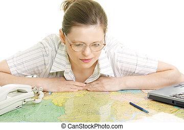 彎曲, 地圖, 在上方, 婦女