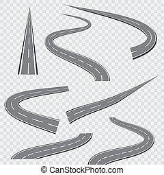 彎曲, 彎曲的路, 或者, 高速公路, 由于, markings., 矢量, 插圖