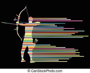 彎曲, 概念, 射手, 弓, 矢量, 背景, 人