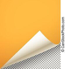 彎曲, 表, 紙, 背景, 空白, 角落, 透明