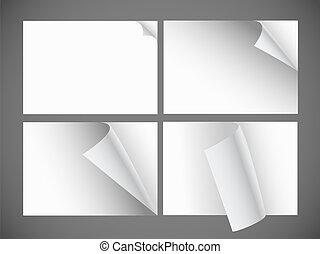 彎曲, 角落, 彙整, 紙, 單子, 空白