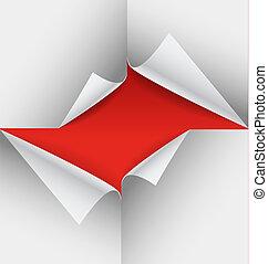 彎曲, 角落, 紙, 單子, 空白