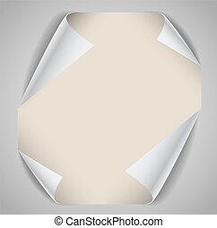 彎曲, 角落, 紙, 表, 空白