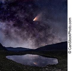 彗星, 上に, 湖, 山