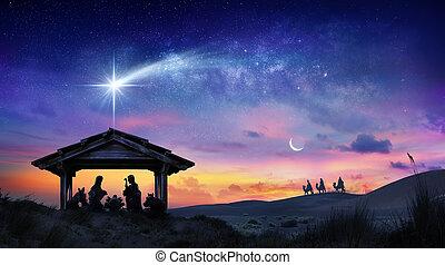彗星, nativity 場面, 家族, 日の出, 神聖, イエス・キリスト