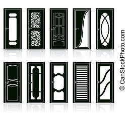 彙整, ......的, 內部, 門, 黑色半面畫像