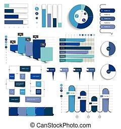彙整, ......的, 圖表, 圖, flowcharts., infographics, 在, 藍色, color.