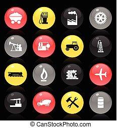 彙整, ......的, 按鈕, 上, a, 主題, the, 工業, 上, a, 黑色, 背景。, a, 矢量, 插圖