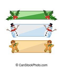 彙整, ......的, 現代, 套間, origami, 聖誕節, 旗幟, 集合