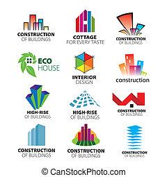 彙整, ......的, 矢量, 理念, 建設, 以及, 家園改善