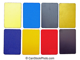 彙整, ......的, 鮮艷, 塑料, 卡片, 在懷特上, 背景