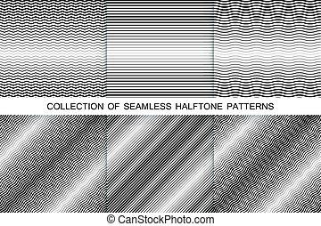 彙整, ......的, halftone, seamless, backgrounds., 有條紋, 黑色 和 白色, 結構