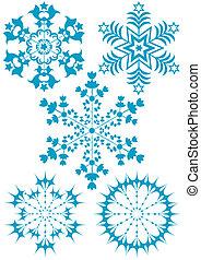 彙整, 藍色, 雪花, (vector)