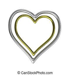 形づくられた心, フレーム, リング, 2, 銀, 同心である, 金