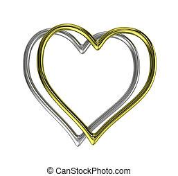 形づくられた心, フレーム, リング, 2, 銀, 金