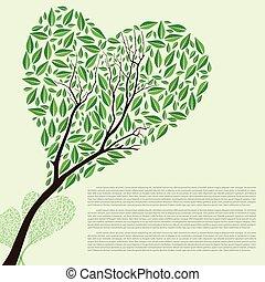 形づくられた心, 抽象的, 木, ベクトル, 緑