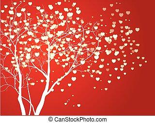 形づくられた心, 抽象的, 木, ベクトル, 背景, 赤