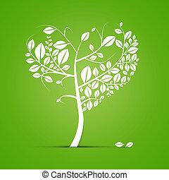 形づくられた心, 抽象的, 木, 緑の背景