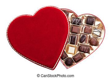 形づくられた, チョコレート, 箱, 心