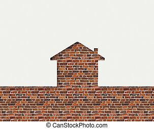形づくられた, 壁, 家, レンガ, の後ろ, 白