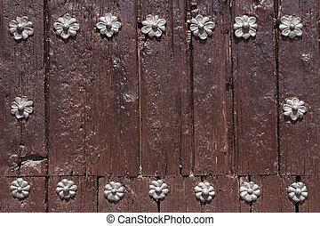 形づくられた, 木製である, 金属, 背景, 花, リベット