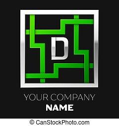 形をまっすぐにしなさい, 権利, デザイン, silver-green, ロゴ, あなたの, 迷路, ∥象徴する∥, バックグラウンド。, 黒, テンプレート, 迷路, カラフルである, シンボル, 選択, 手紙, 銀, d, 現実的, ベクトル, path.