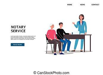 形式的手続き, 人々, サービス, 旗, セット, 平ら, ベクトル, notary, illustration.