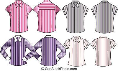 形式的, 女性, シャツ, ストライプ