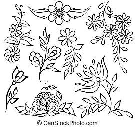 形式, 摘要, angle., 被隔离, 安排, 黑色的背景, 植物, 白色, 邊框