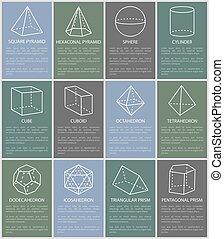 形態, イラスト, ベクトル, 様々, 数字, 幾何学的