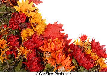 形態, パターン, 秋, 置かれた, 花, ボーダー
