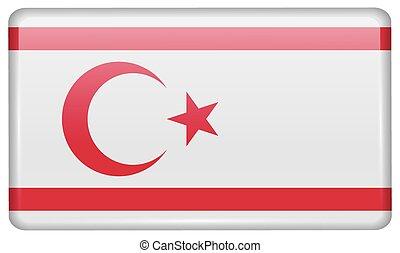 形態, 北, トルコ語, light., 磁石, ベクトル, 旗, 反射, キプロス, 冷蔵庫