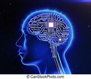 形態, 板, コンピュータ, 脳, 回路, 人間
