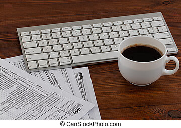 形態, 税, ペーパー, 書かれた, メモ, 時間, カップ, コーヒー