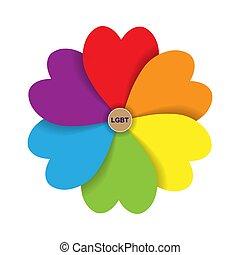 形態, lgbt., 心, 花弁, 碑文, 色, 花