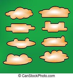 形態, set., メッセージ, イラスト, clouds., vector., アイコン