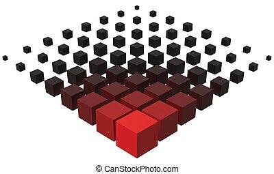 形成, 大きい, スタイル, cubes., より小さい, 3d