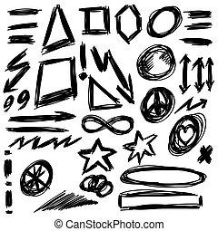 形狀, 心不在焉地亂寫亂畫, 矢量, 設計元素
