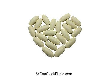 形狀, 心,  C, 維生素, 藥丸