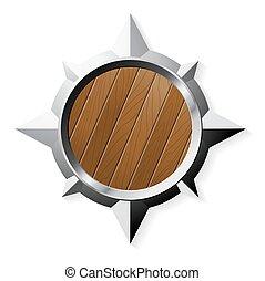 形狀, 木頭, 被隔离, 盾, 鋼, 星, 白色