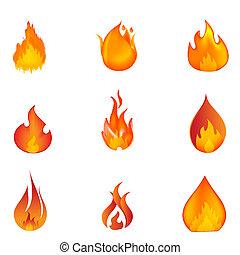 形狀, ......的, 火